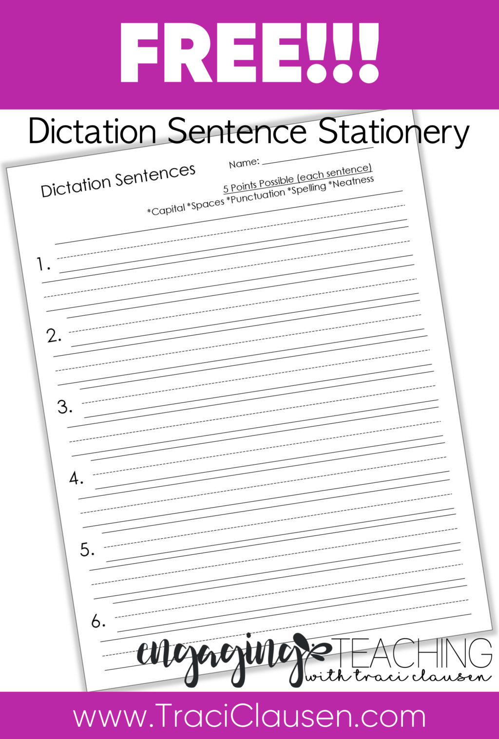 Dictation Sentence Freebie