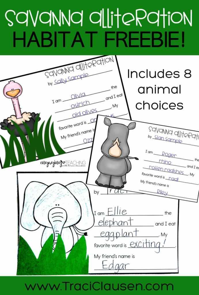 Savanna animals and alliteration activity