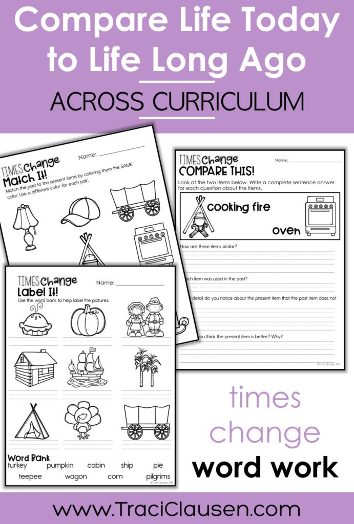 past and present activity sheets