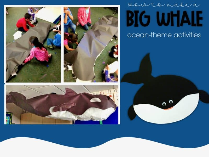 Kids making a paper orca
