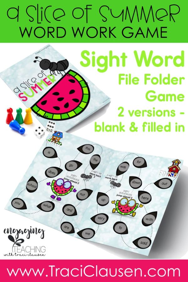 A Slice of Summer Sight Word Game