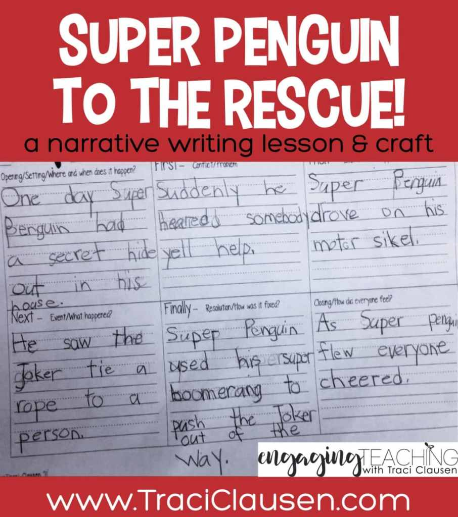 student sample of super penguin narrative