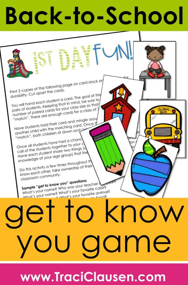 Back to School - 1st Day Activities