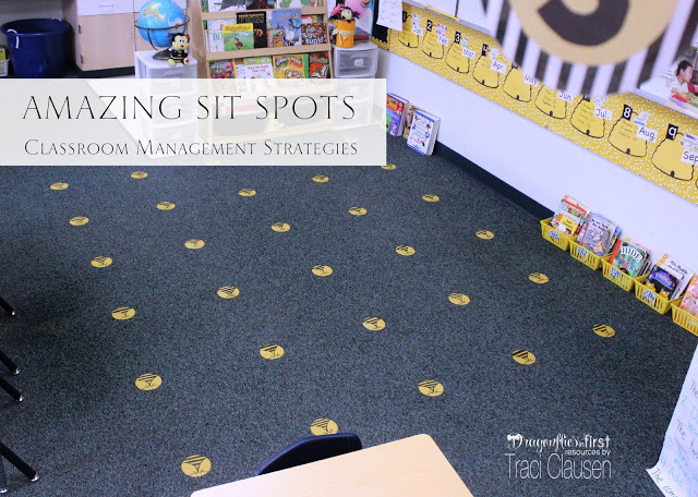 SitSpots for Classroom Management in bee themed room
