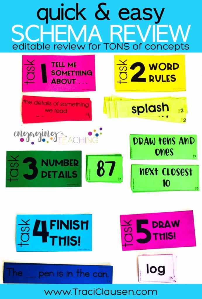 Schema Review Cards on Colored Paper