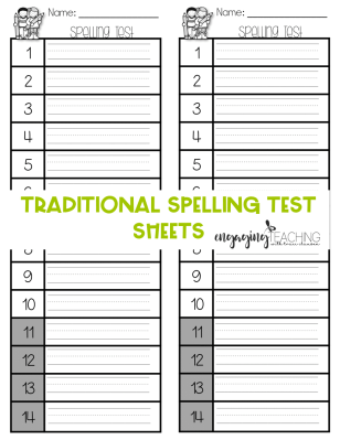 Spelling Test Sheets