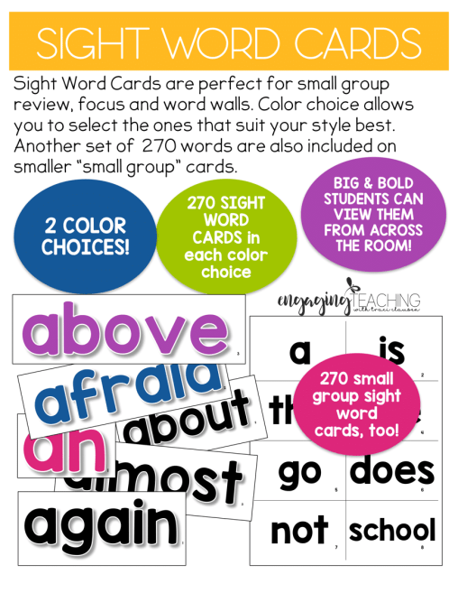 Sight Word Cards (over 270 words in a variety of color/sizes in one file!!!!)