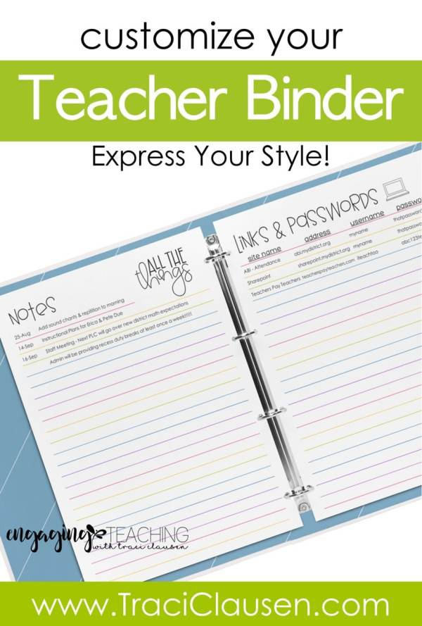 customize your teacher binder