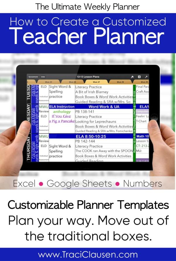 teacher planner on tablet