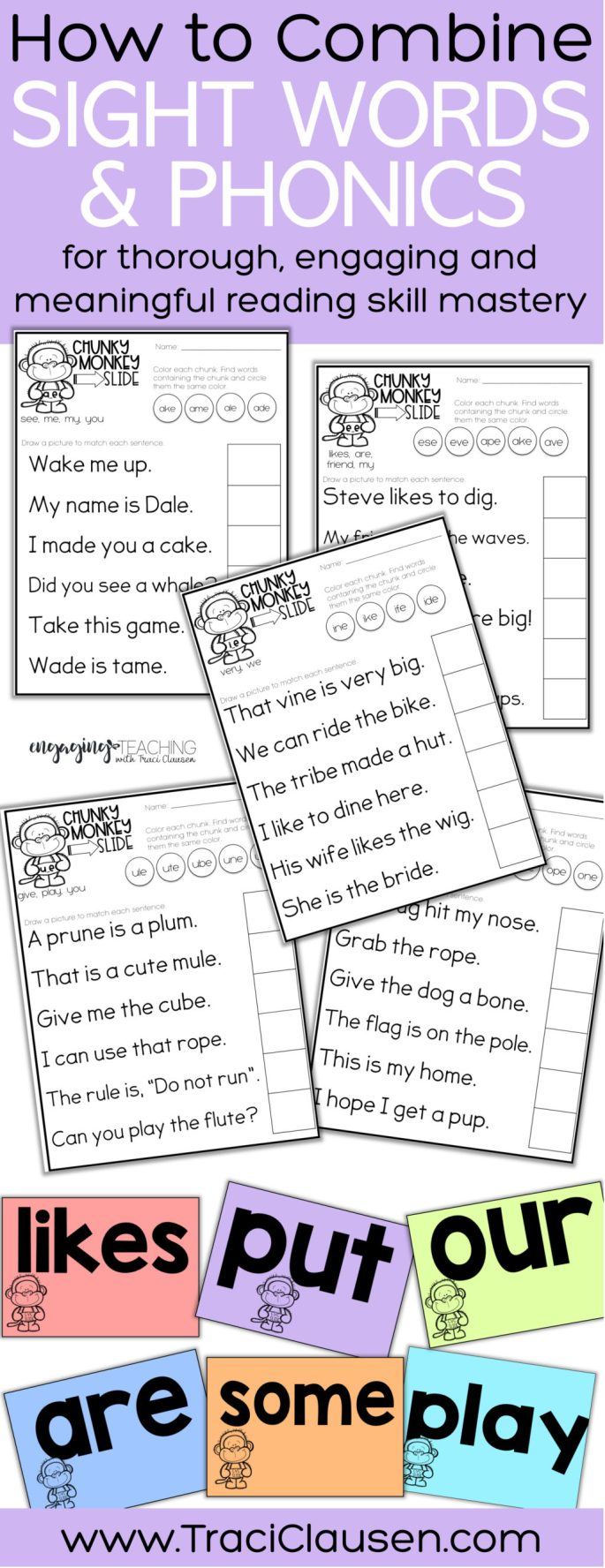 Chunky Monkey samples sheets and sight word cards