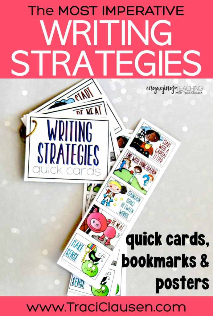 Writing Strategies bookmarks and quick cards