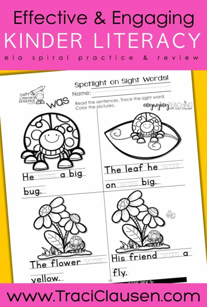Daily Literacy Practice Sight Words Activity