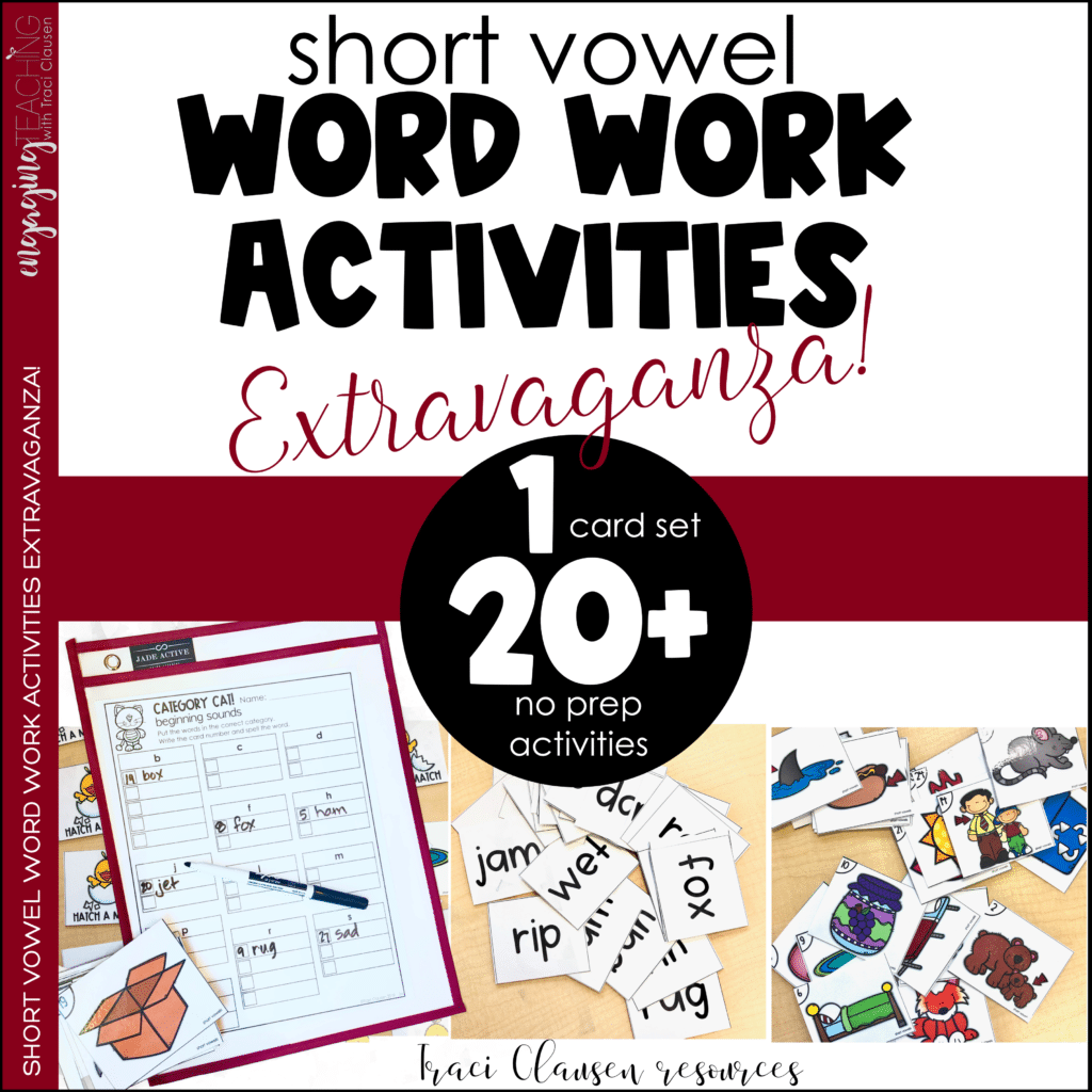Short Vowel Word Work Activities Extravaganza resource cover.