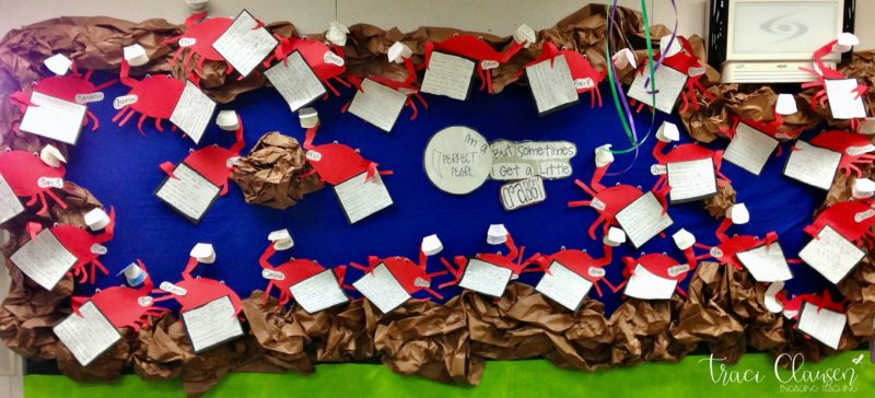 crab crafts on a bulletin board