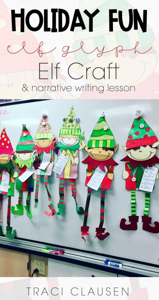 Elf crafts on white board.