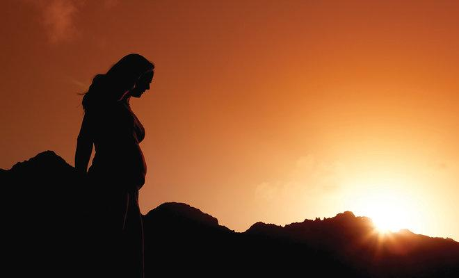 Pregnancy Silhouette at Sunset