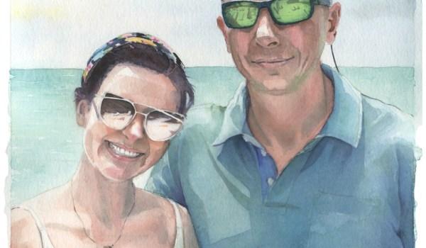 Watercolor Portrait Of Richard And Amanda