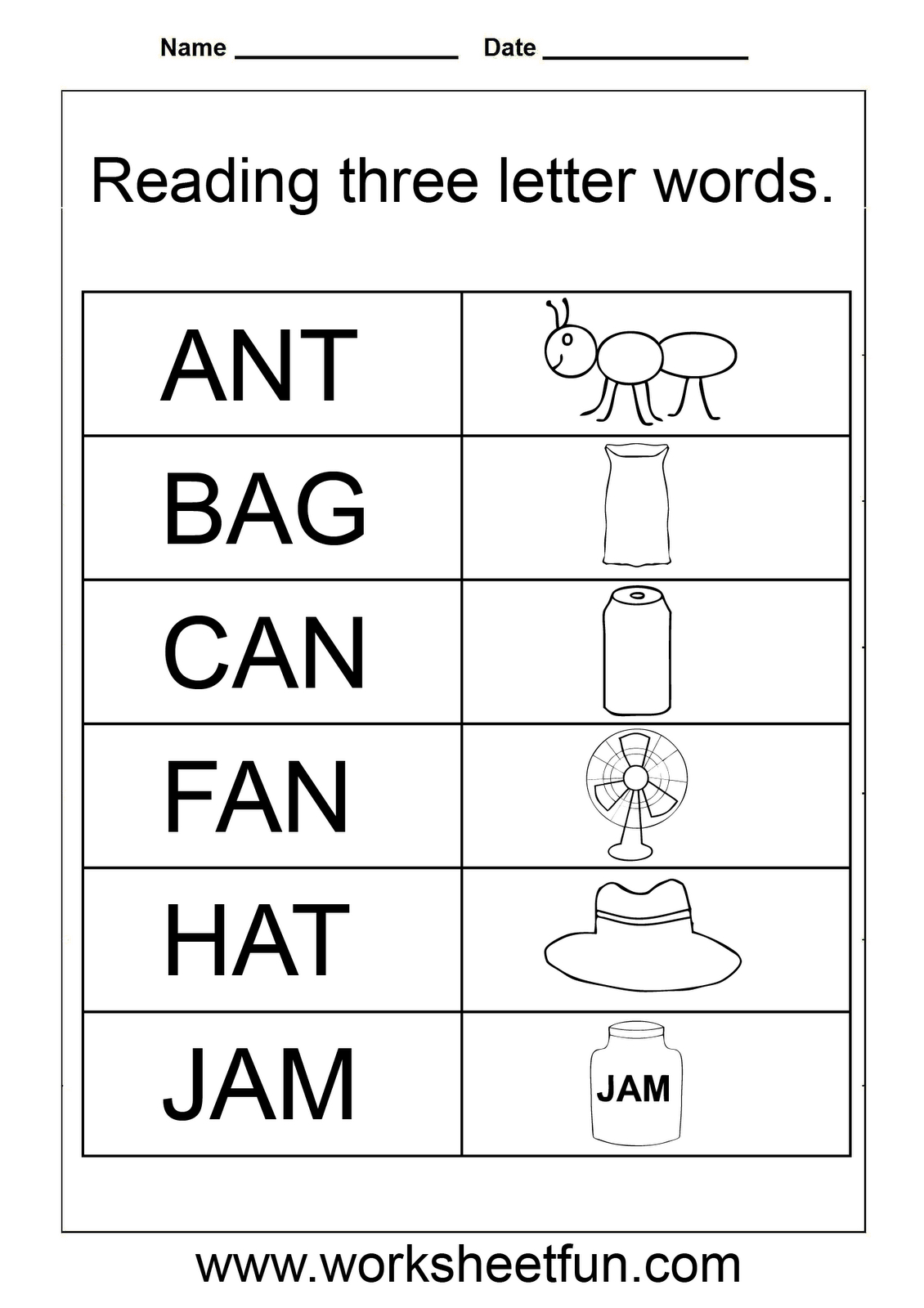 Tracing 3 Letter Words Worksheets