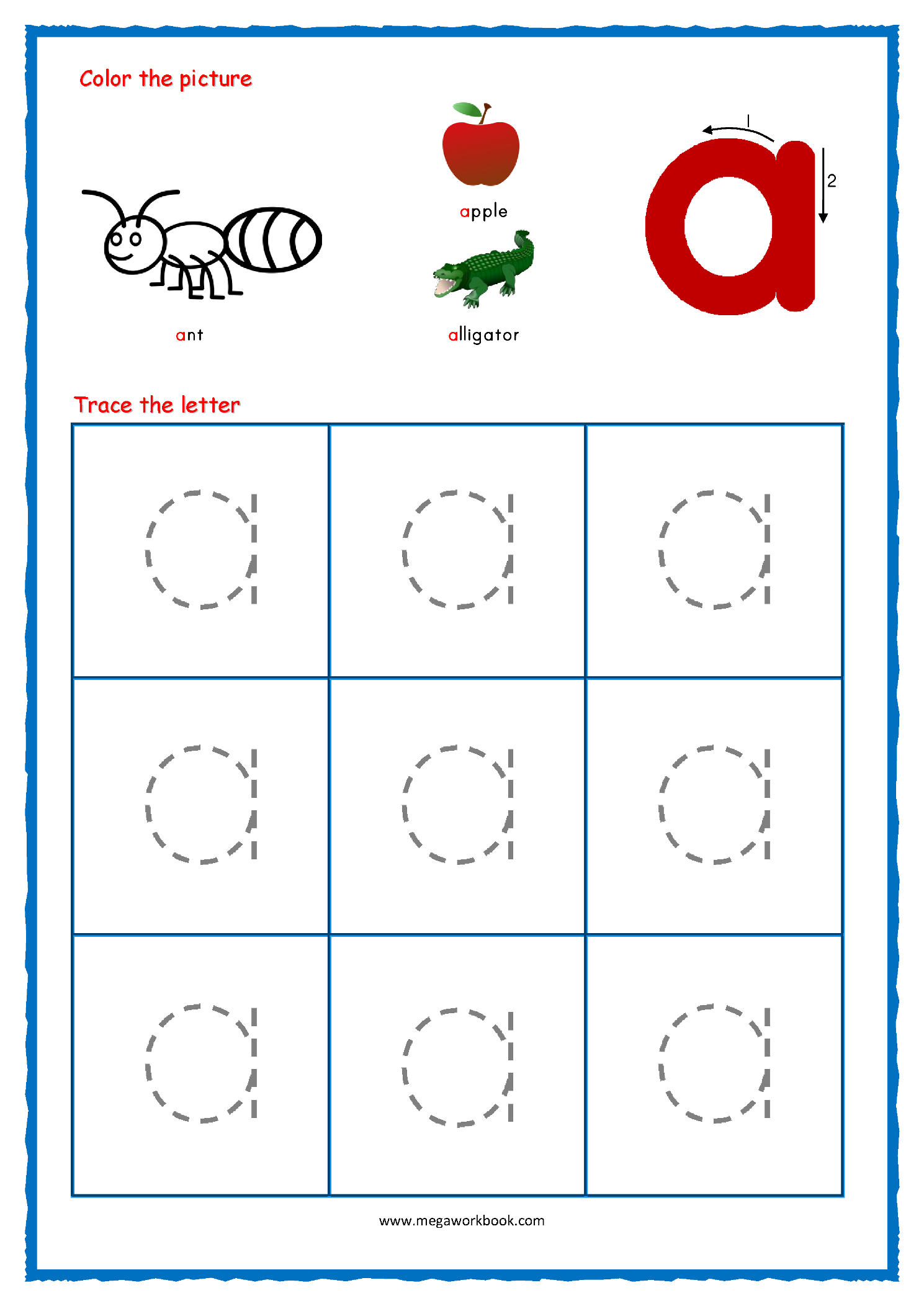 Lower Case Letters Tracing Sheets