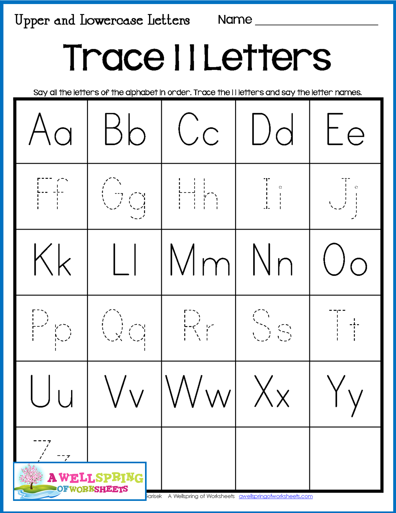 Tracing Upper And Lowercase Letters Worksheets