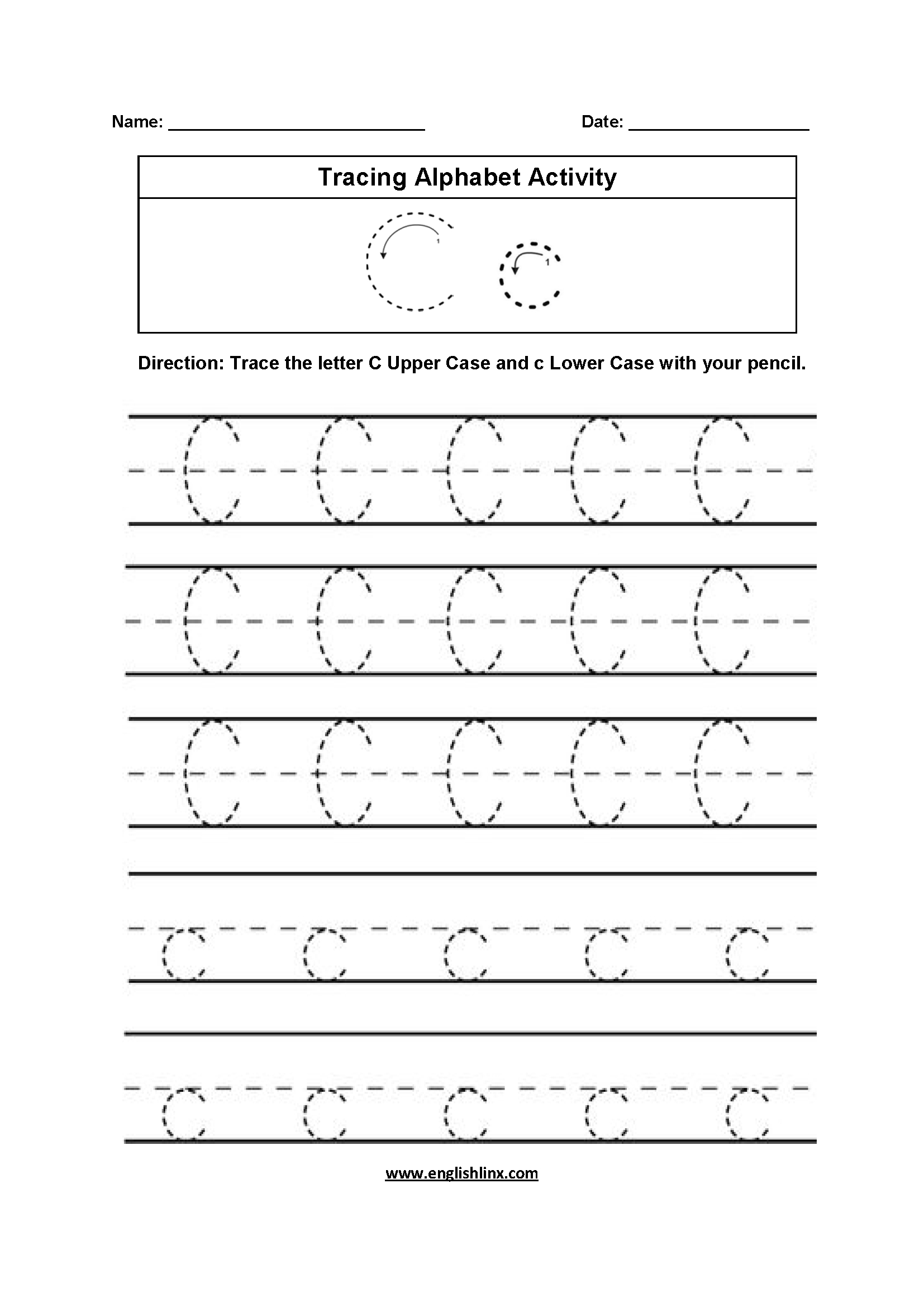 C Letter Tracing Worksheet