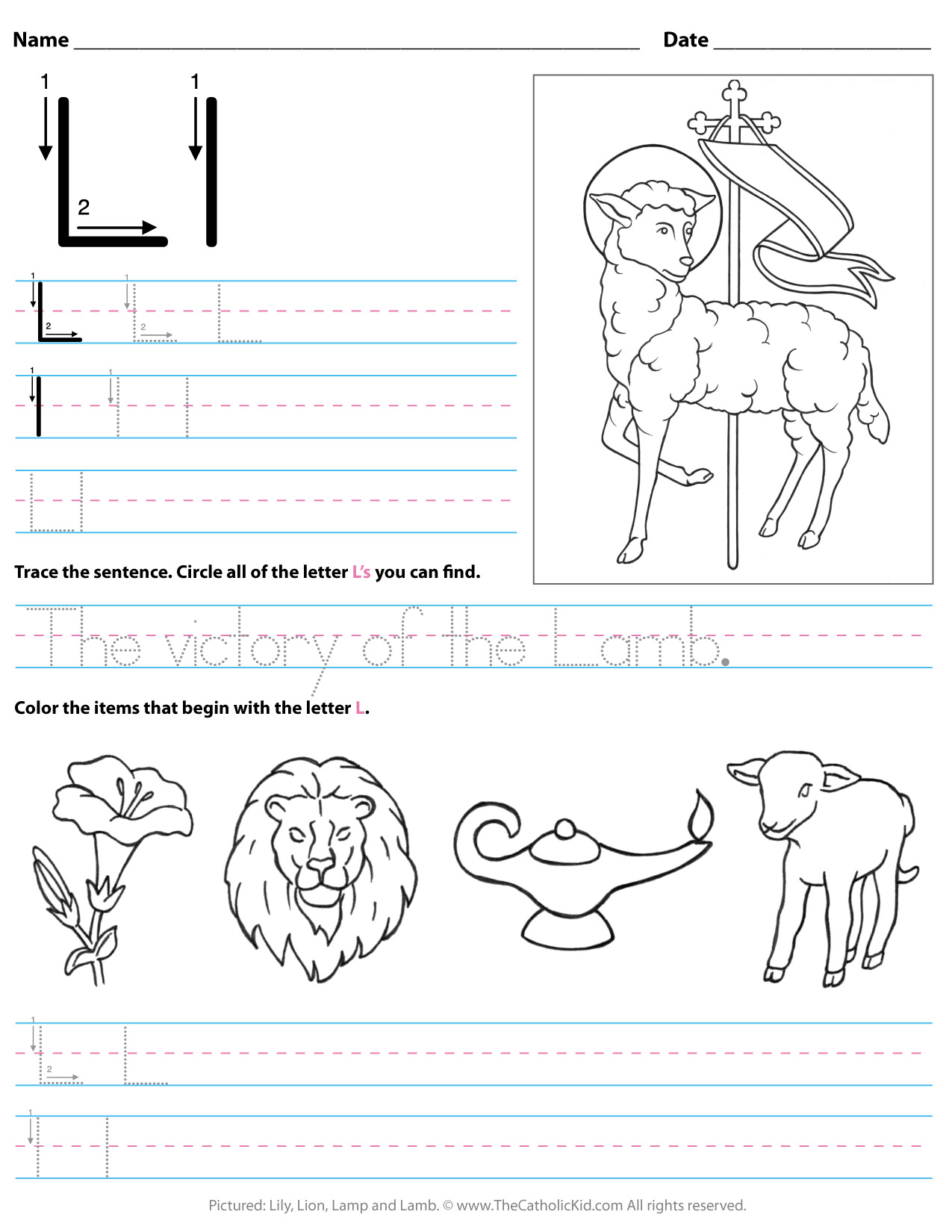Tracing Letter L Worksheets For Kindergarten