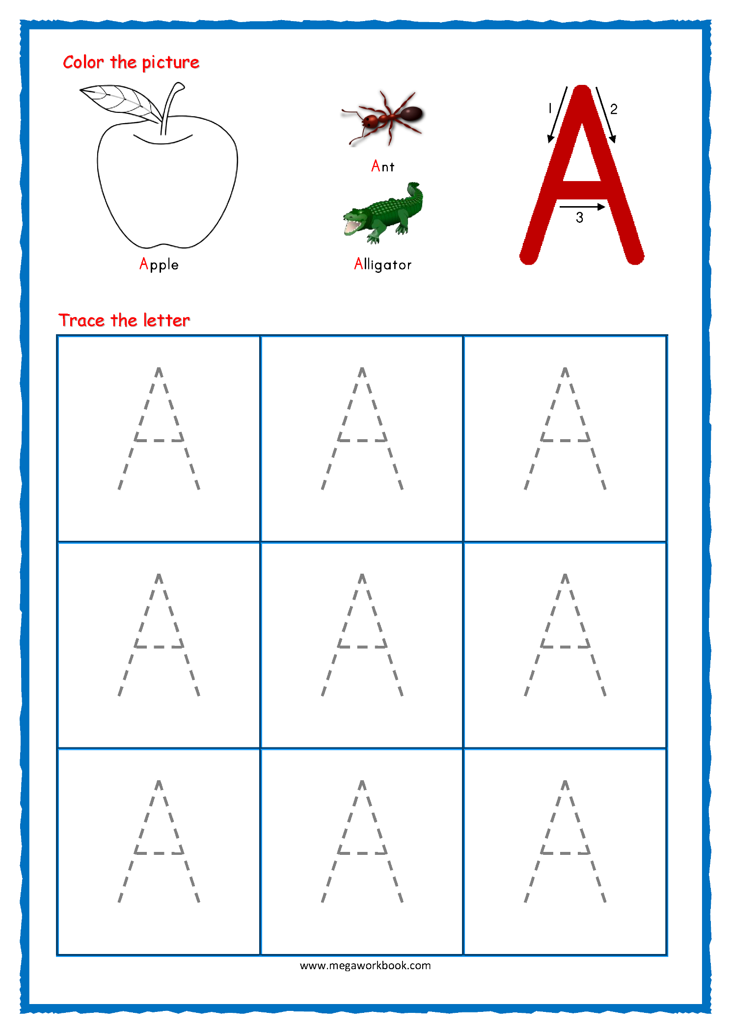 Trace Letter A Worksheets Free