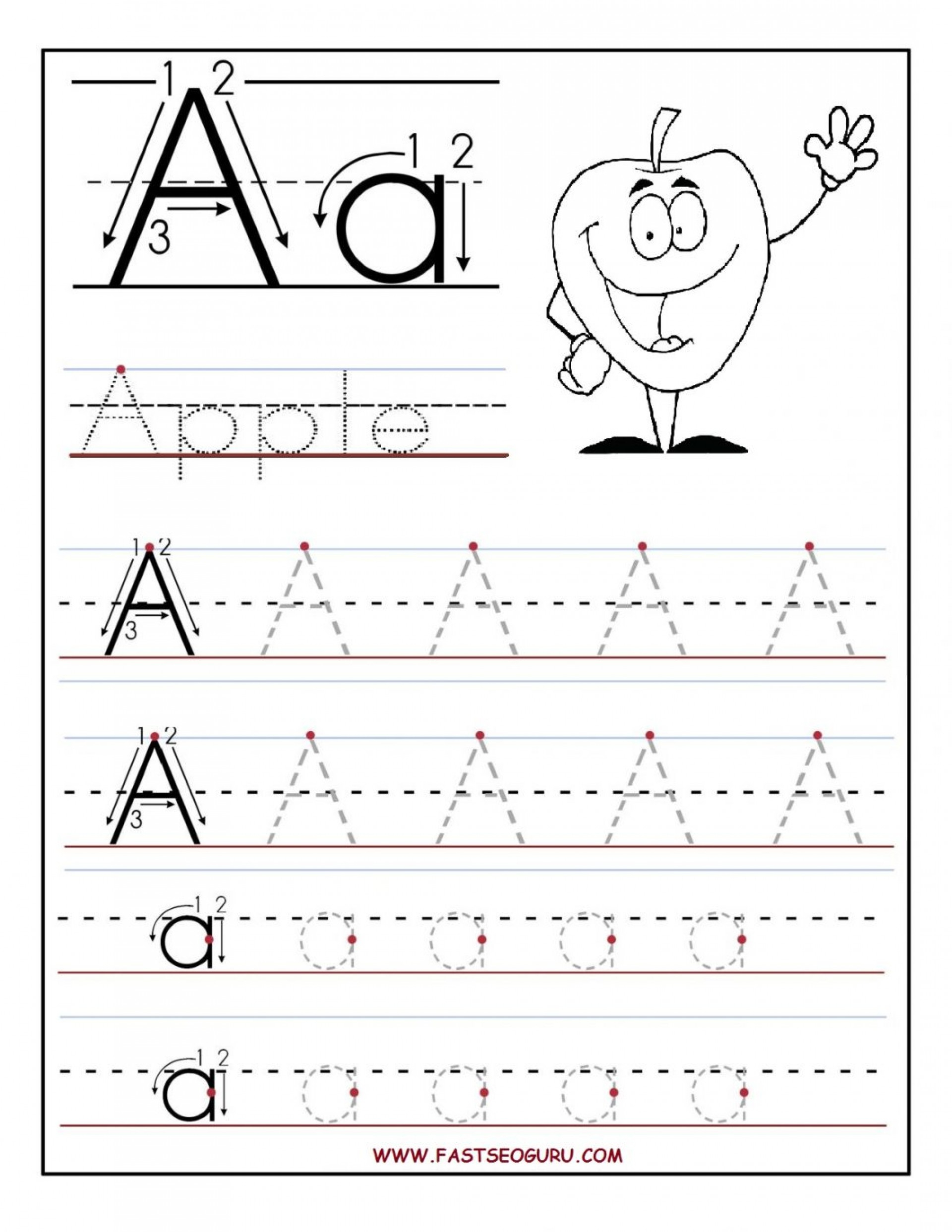 Tracing Letters Worksheets Kindergarten