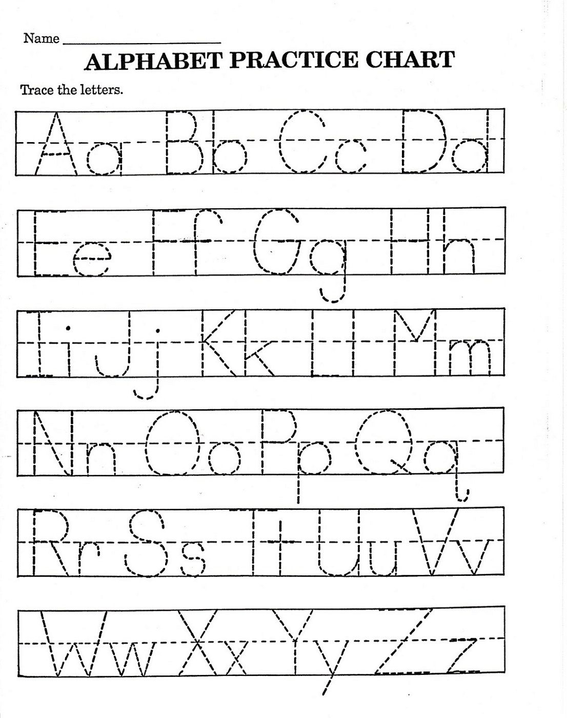 Free Download Tracing Letters Worksheets