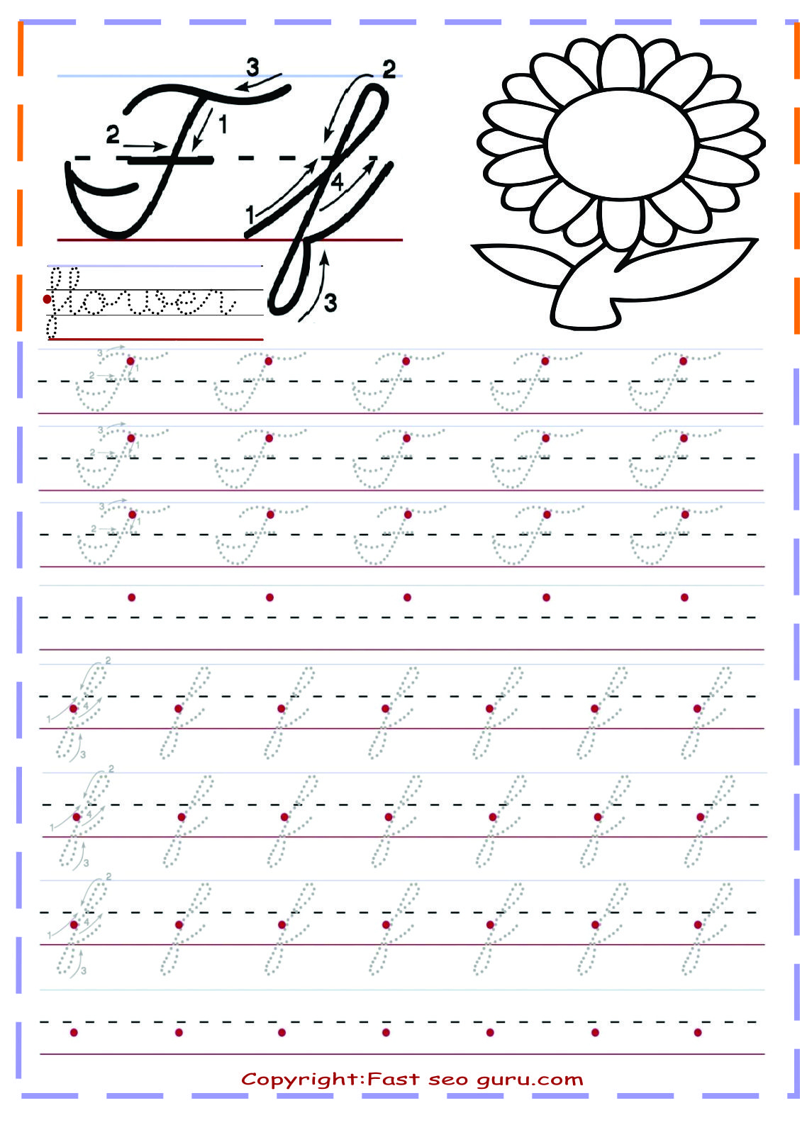 Cursive Letters Tracing Sheets