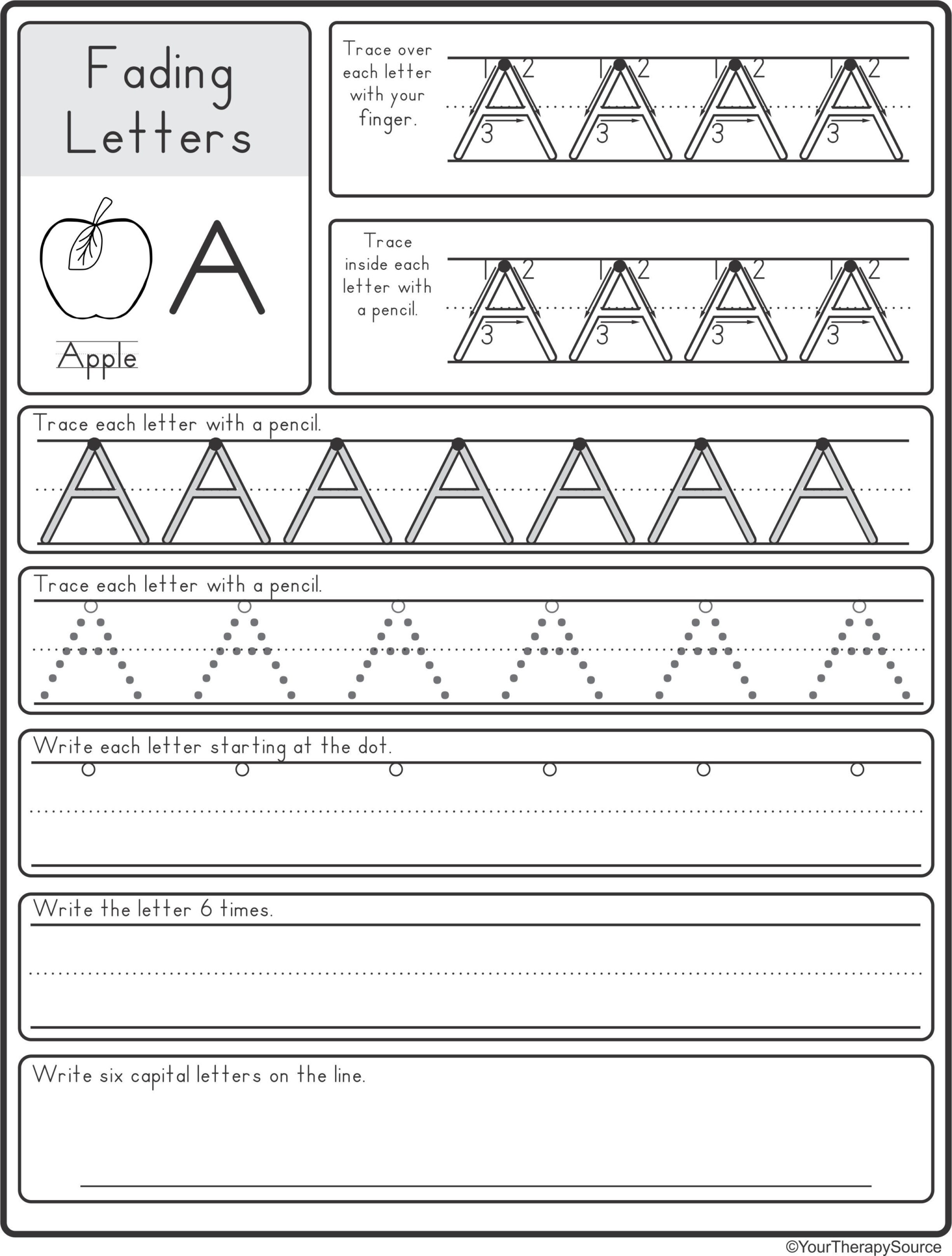 Tracing Dotted Letters Worksheets
