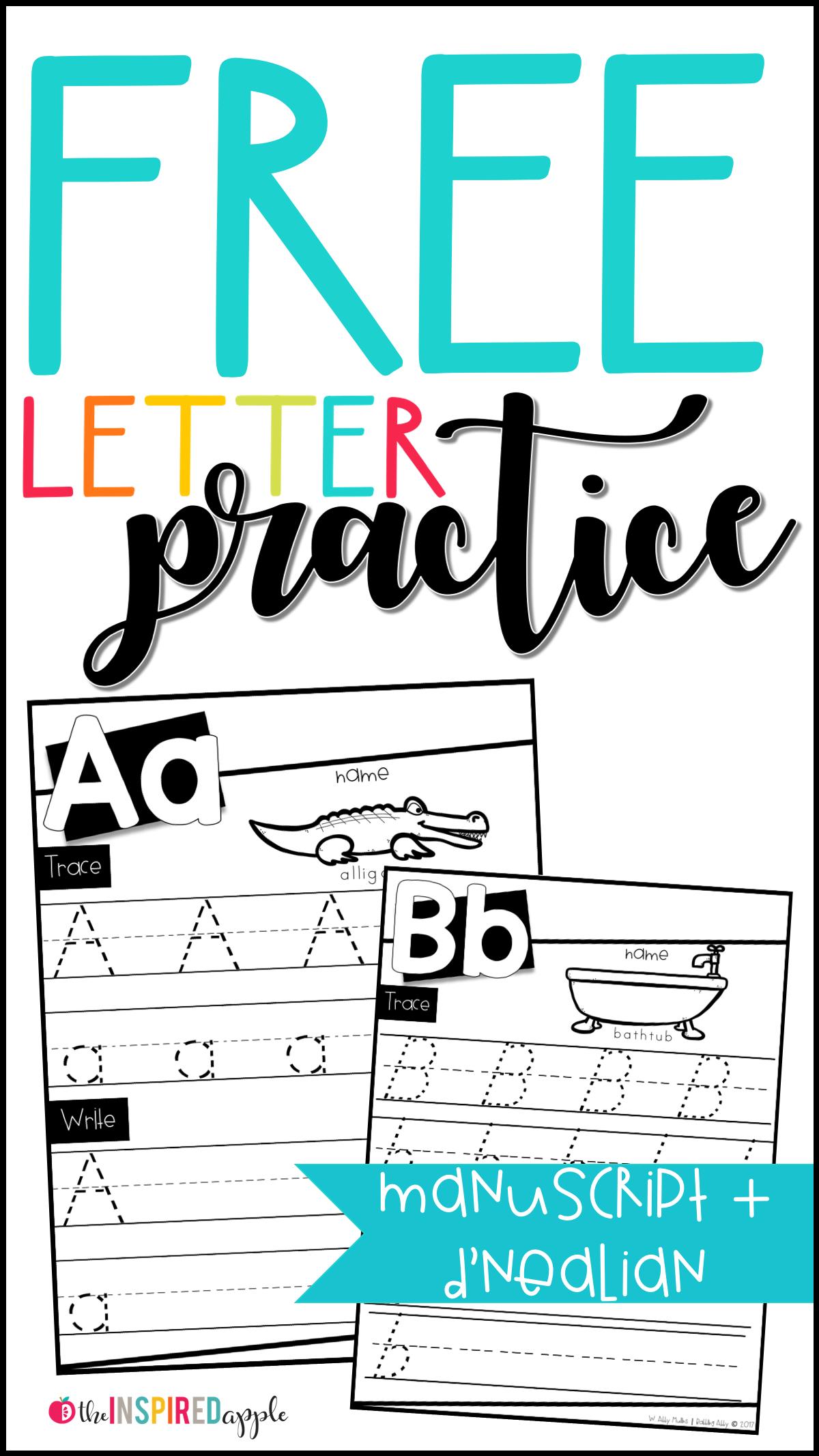 D Nealian Alphabet Tracing Worksheets