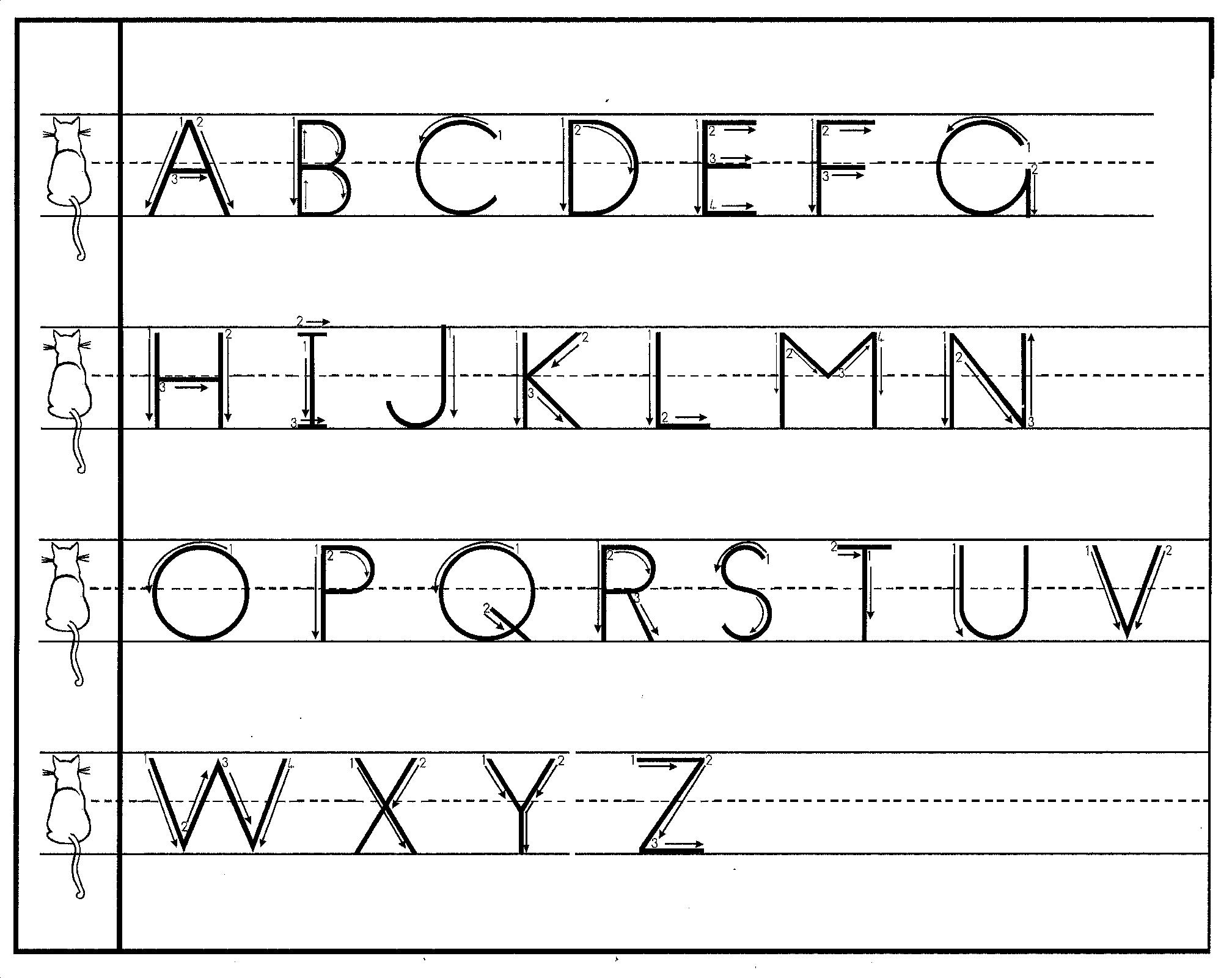 Tracing Letters With Directional Arrows Font