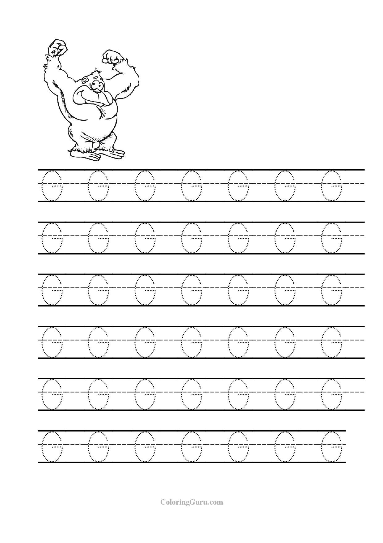 Tracing Letter G Worksheets