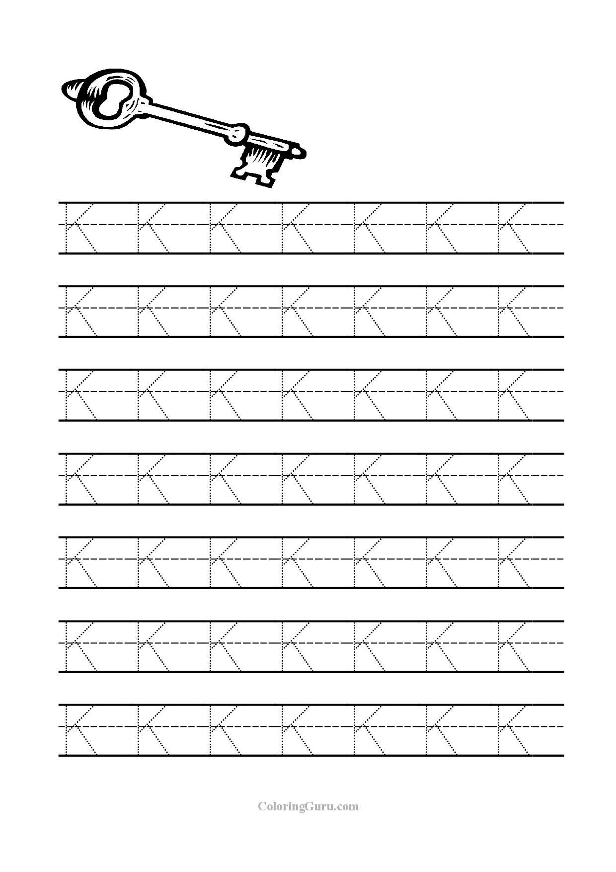 Tracing Letter K Worksheets