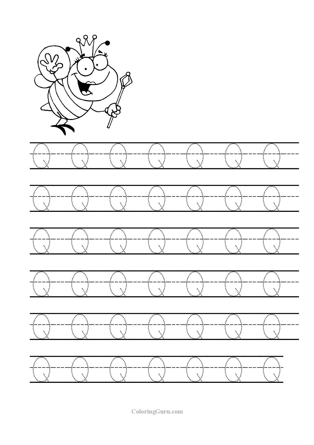Tracing Letter Q Worksheets