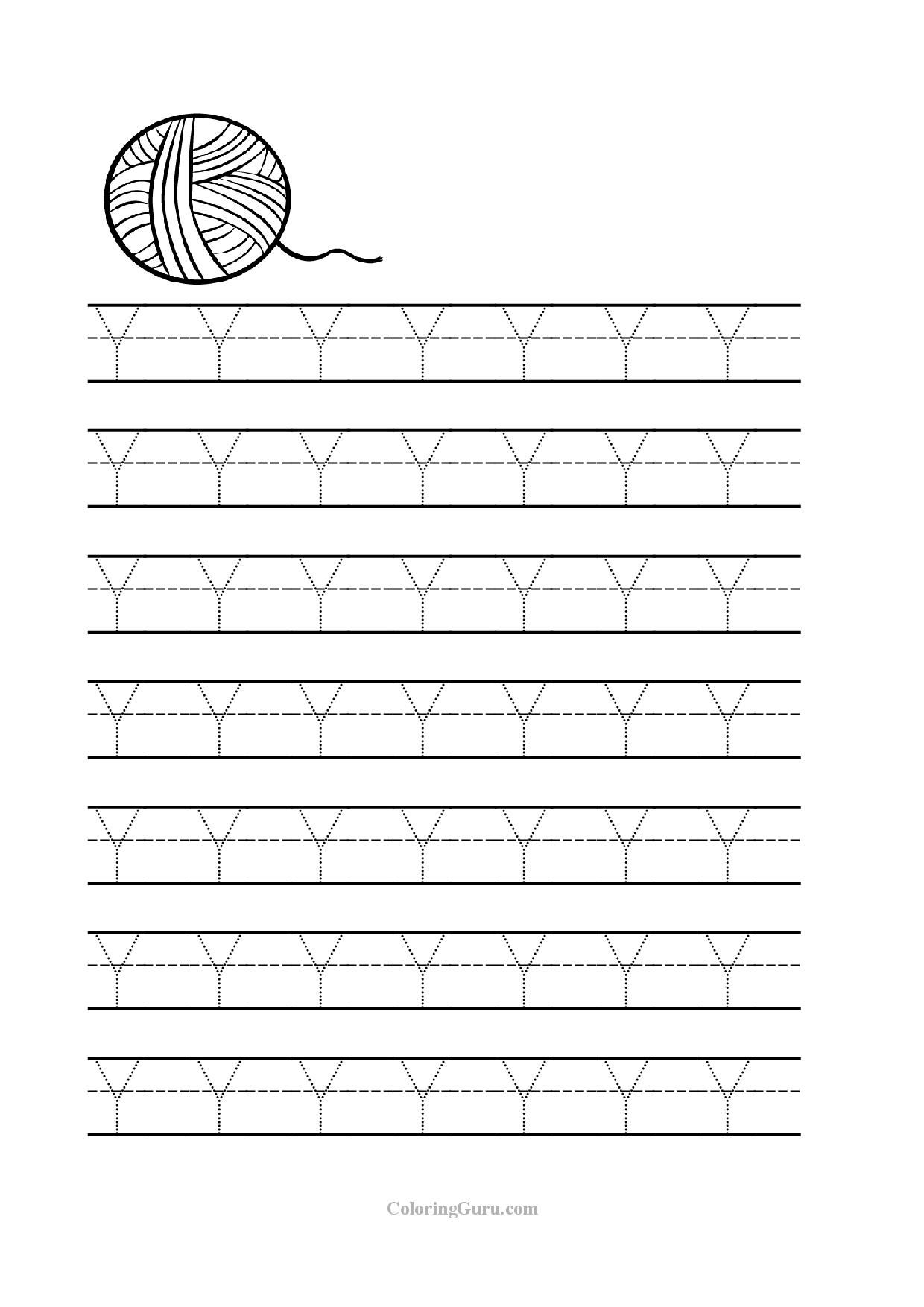 Trace Letter Y Worksheets