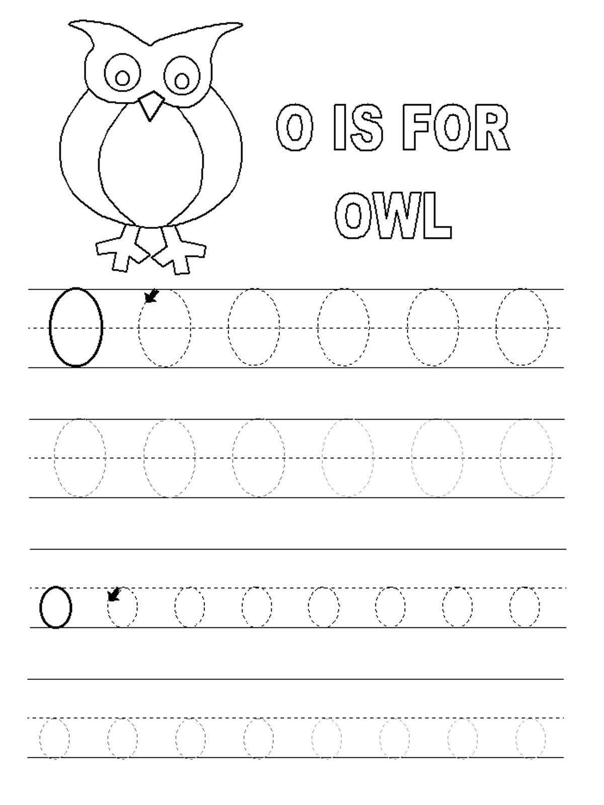 Trace Letter O Worksheets Preschool