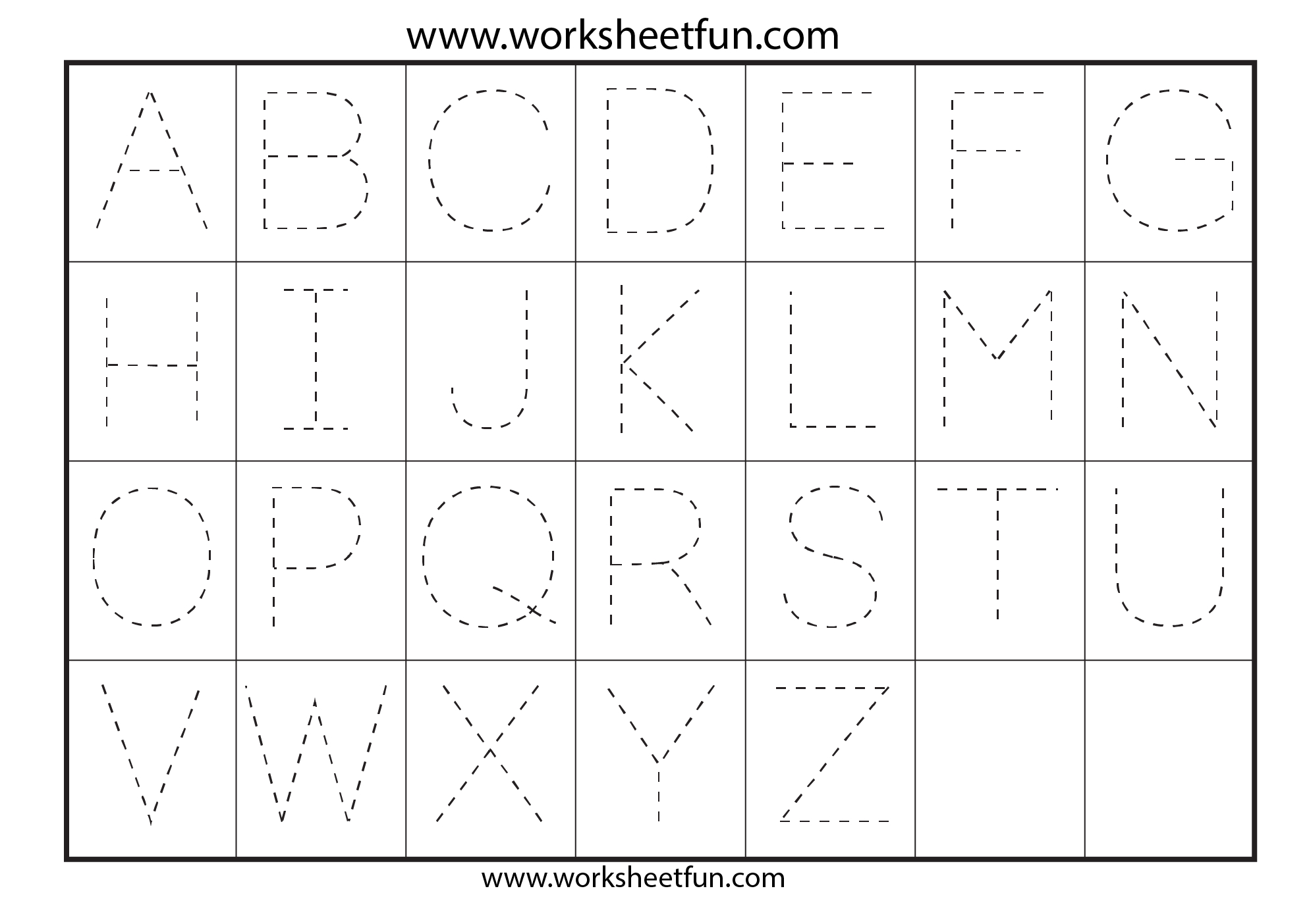 Capital Letters Alphabet Tracing Sheets