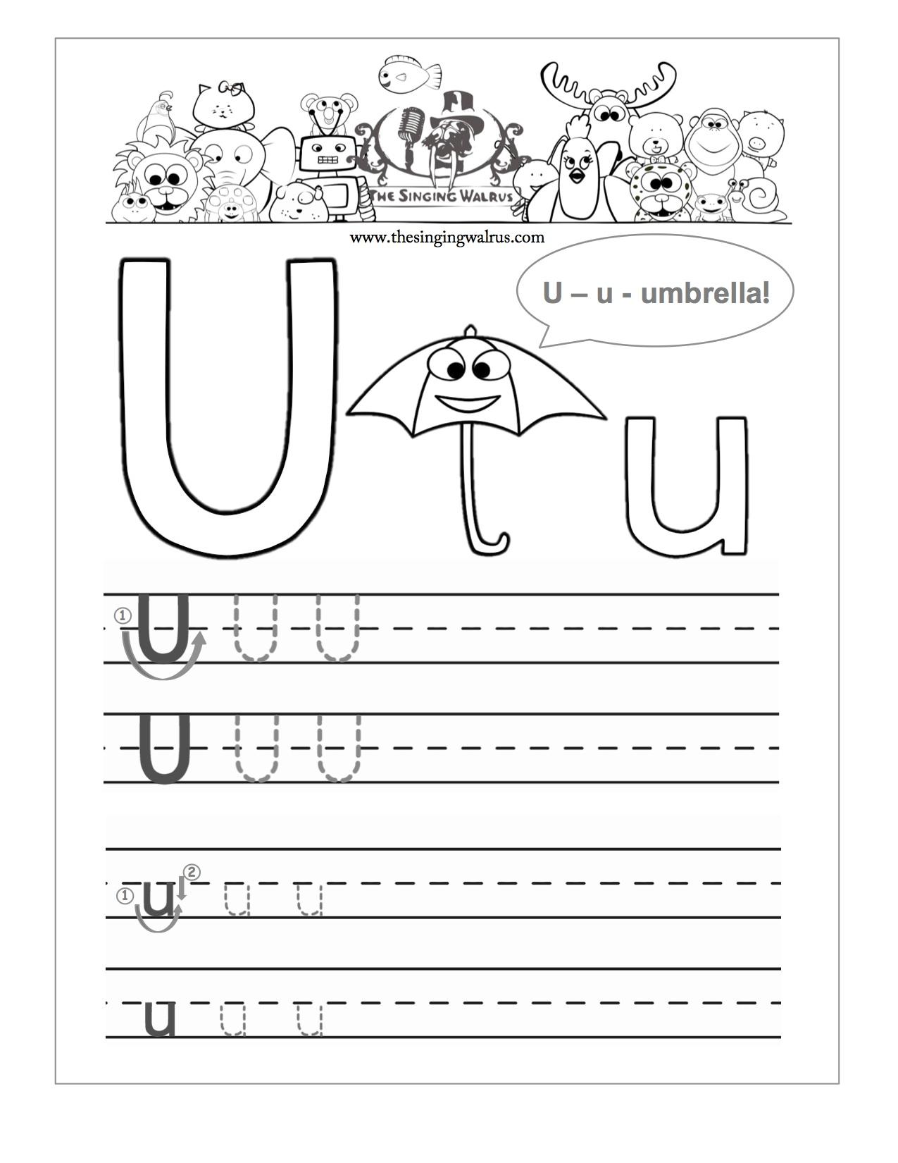 Tracing Letter U Worksheets