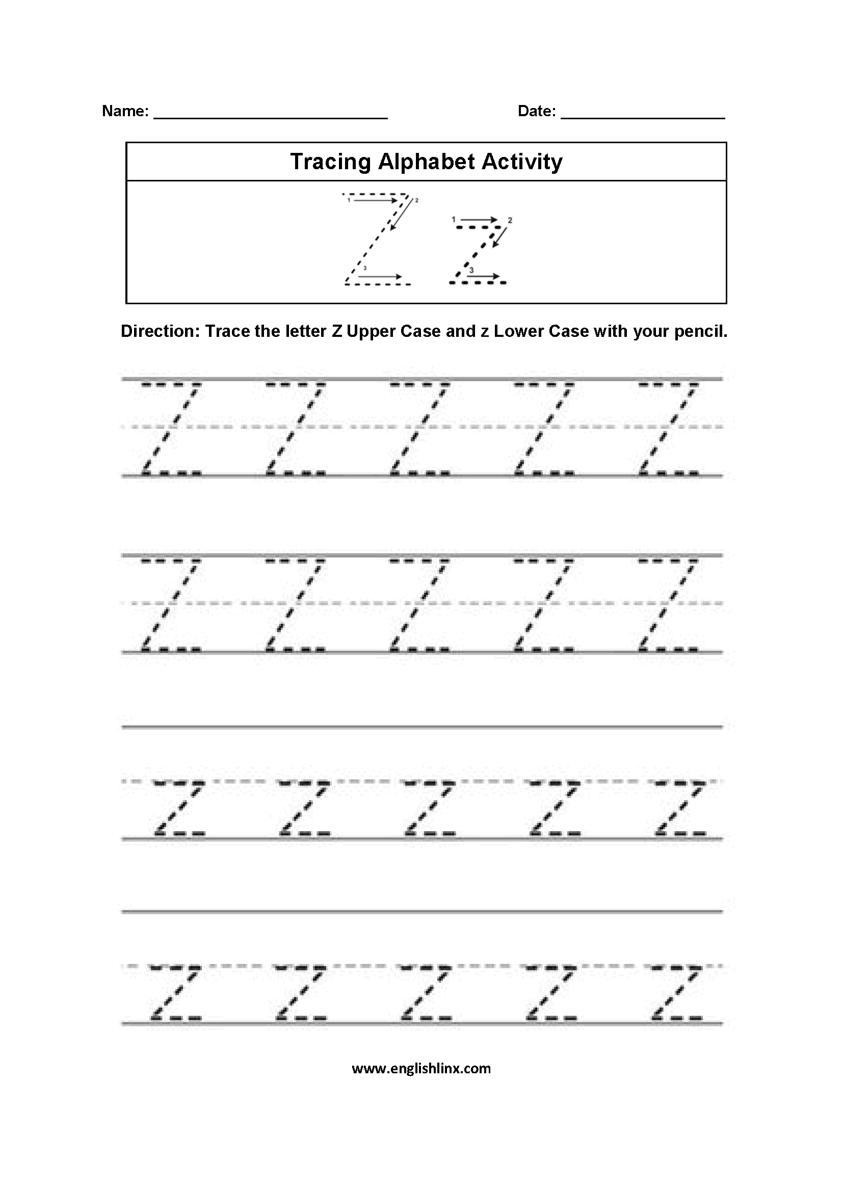 Tracing Letters A To Z Worksheets