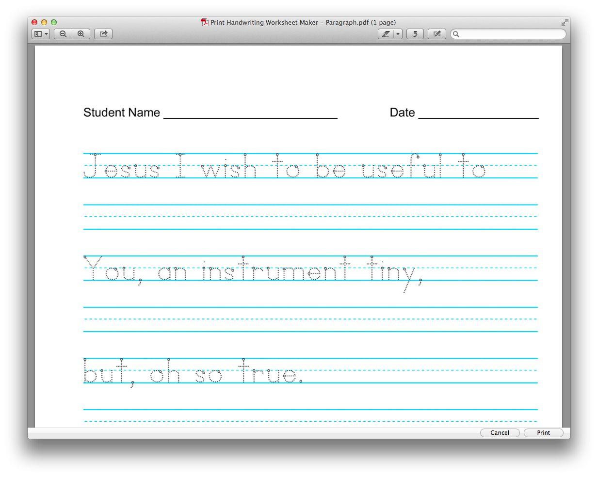 Letter Tracing Worksheet Creator