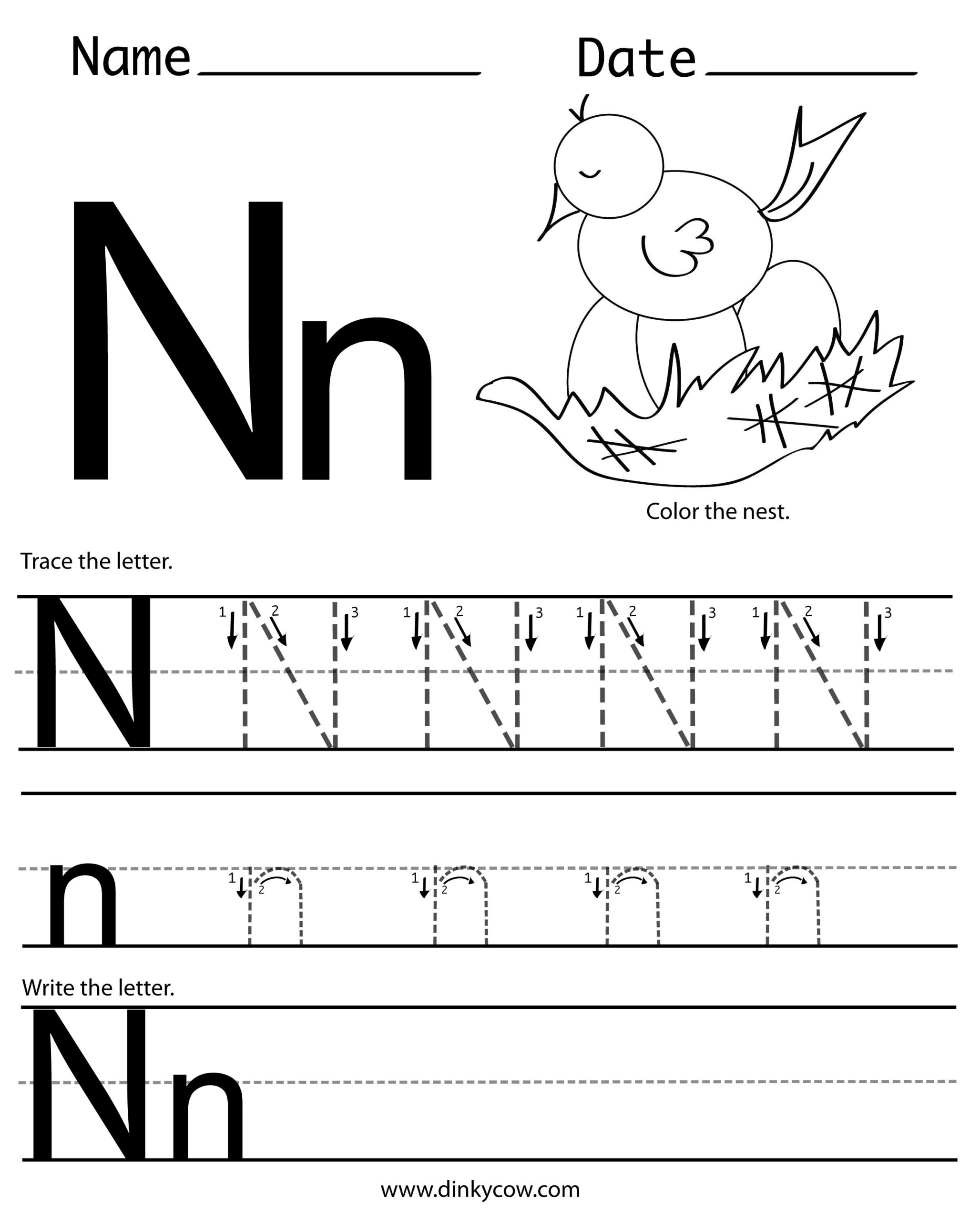 Tracing Letter N Worksheets For Preschool