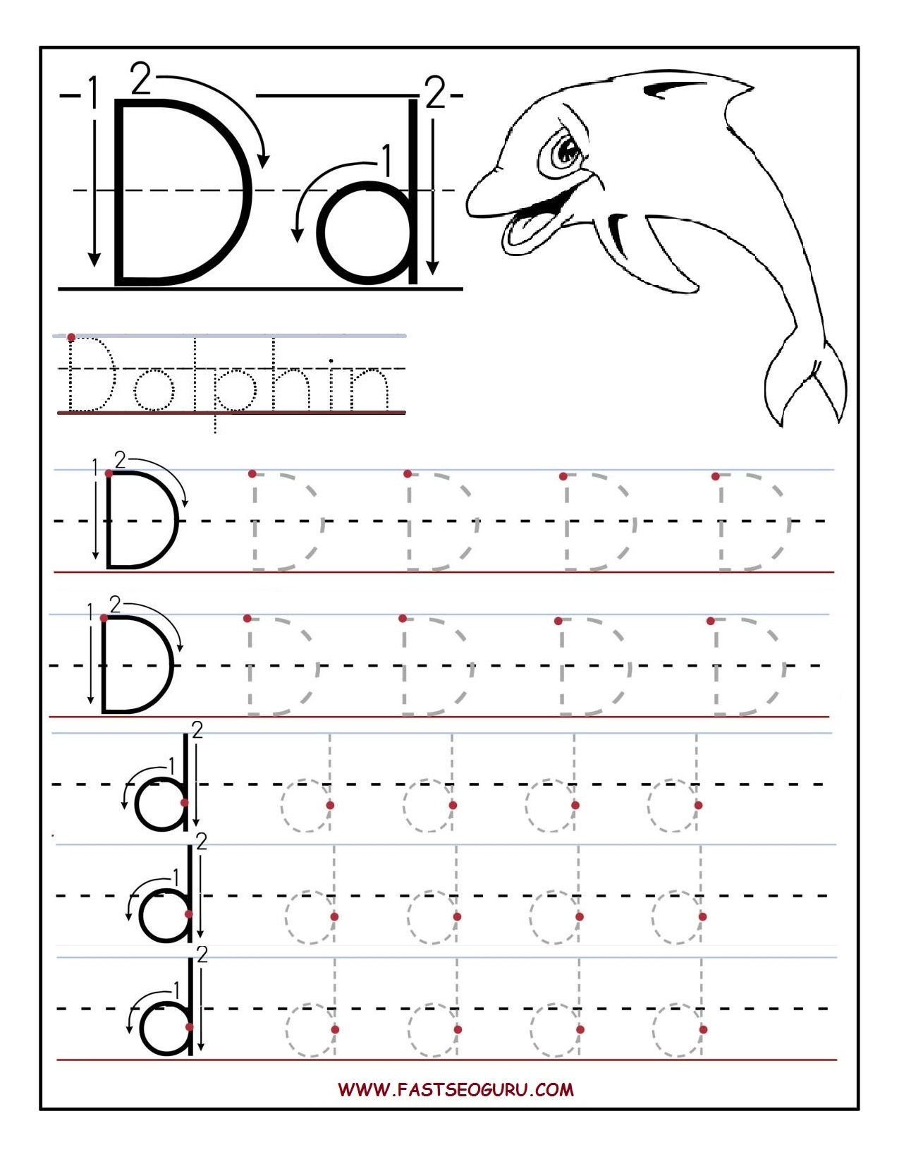 Tracing Letter Dd Worksheet