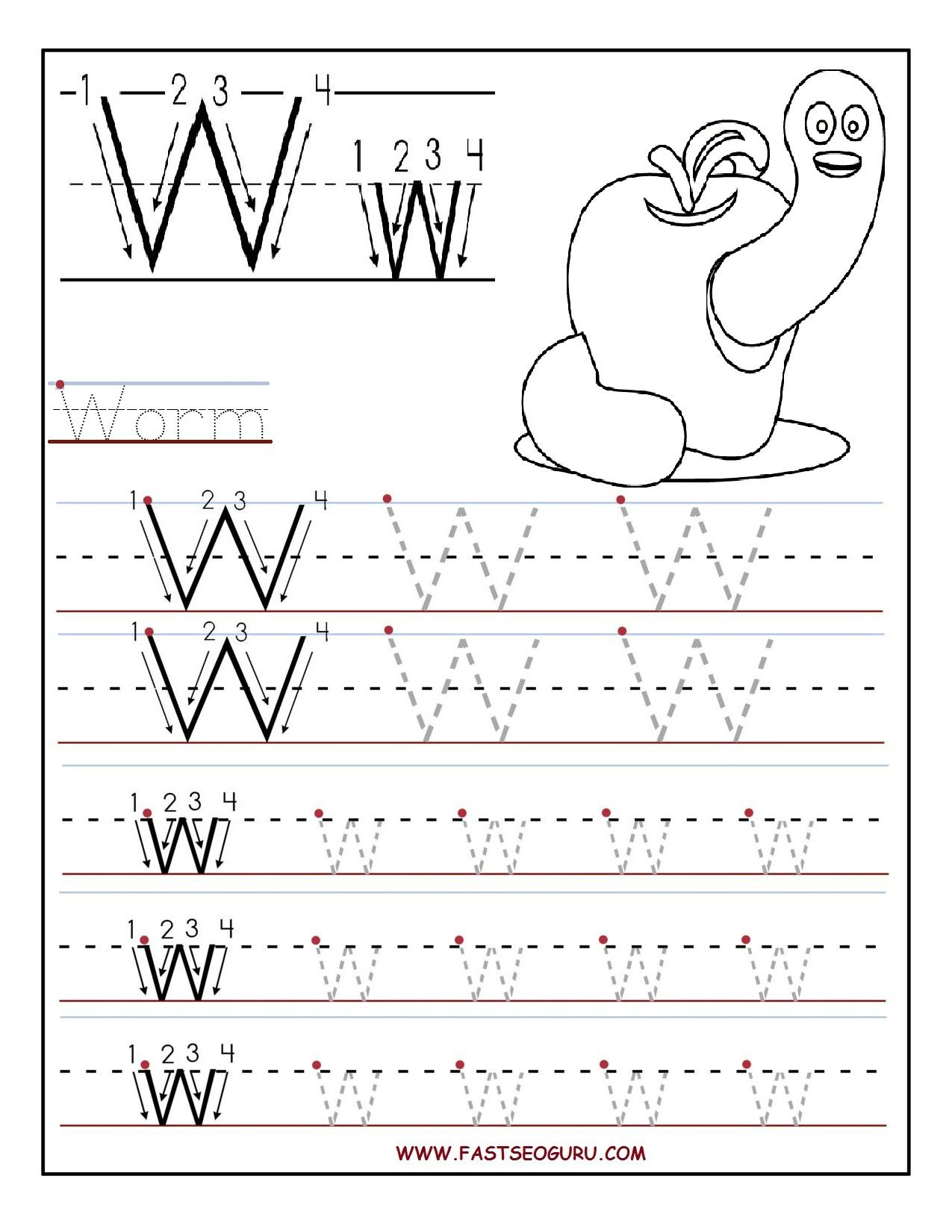 Tracing Letter W Worksheets