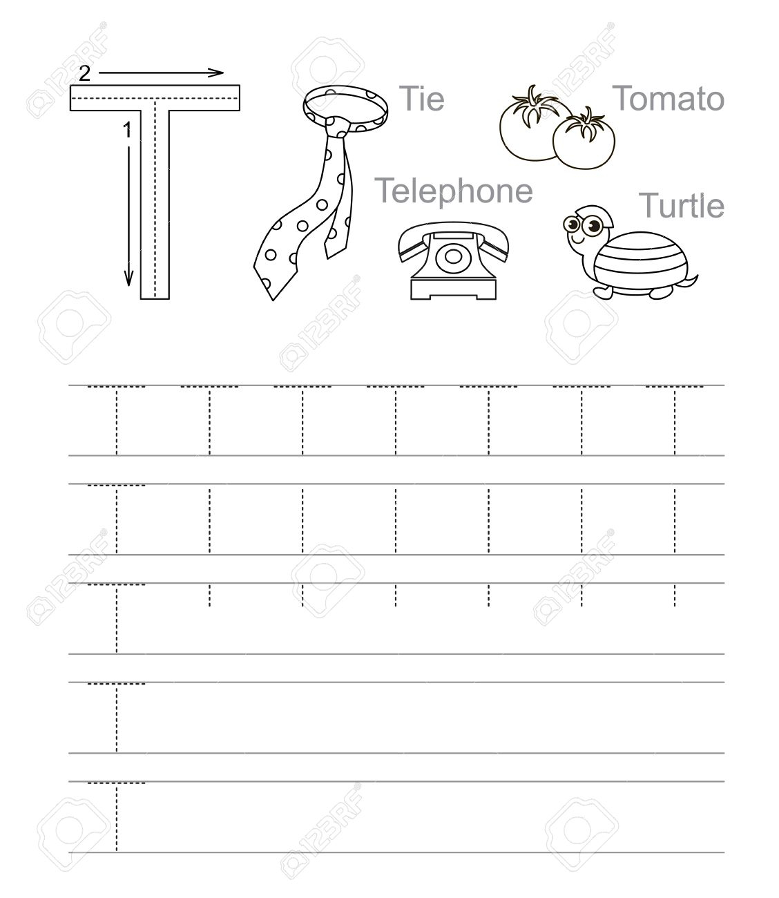 Tracing Letter T Worksheets