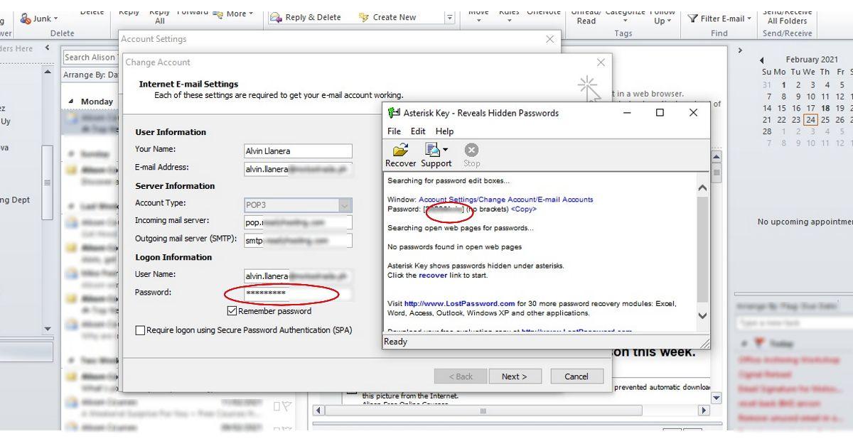 Reveal Outlook Password 2010