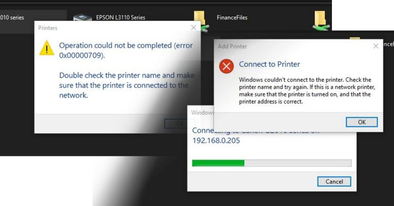 Error 0x00000709 Windows couldn't connect to the printer
