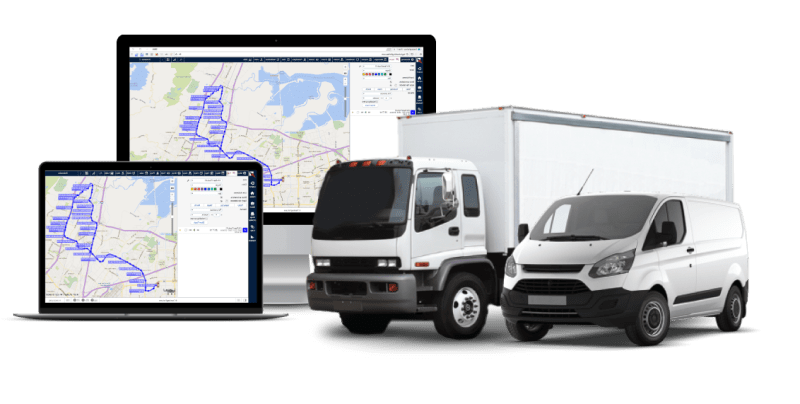 TrackingForLess portal with truck and delivery van.