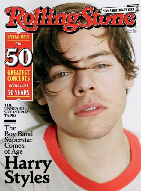 Exemplo de capa da revista Rolling Stone, que teve o cantor Harry Styles como destaque. Foi uma edição comemorativa dos cinquenta anos da revista.